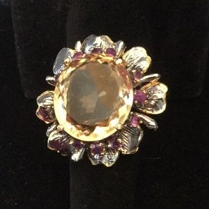 Genuine 28 CTW Citrine & Garnet Ring